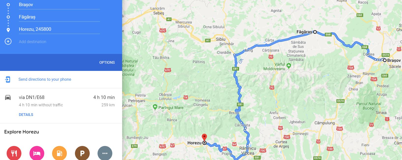 traseu autorulotă brasov făgăraș horezu